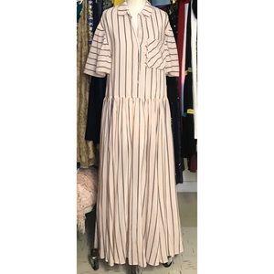 FREE PEOPLE Dropwaist Pink Striped Dress
